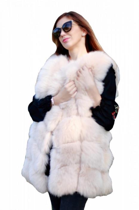 Vesta din blana naturala de vulpe, Bej, marimea M