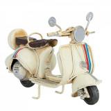 Macheta scuter Retro din metal alb antichizat 11 cm x 5 cm x 7 h, Clayre & Eef