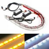Cumpara ieftin Set 2 buc banda leduri flexibila, DRL cu semnalizare secventiala, 10 LED, 31cm