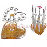 Suport pensule unghii si ustensile manichiura 12 sloturi - Gold Heart