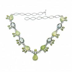 Colier din argint cu peridot, lemon cuart si cuart rutilat verde