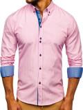 Cămașă în dungi bărbați roz Bolf 9714