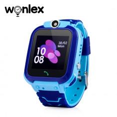 Ceas Smartwatch Pentru Copii Wonlex GW600S cu Functie Telefon, Localizare GPS, Monitorizare somn, Camera, Pedometru, SOS, IP54 - Albastru, Cartela SIM