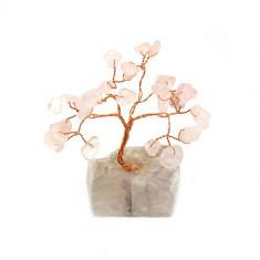 Copacel cu cuart roz pe suport de piatra