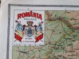 """Harta """"România politică"""" din atlasul C. Teodorescu 1924"""