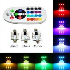 Bec SOFIT 41MM. RGB CU TELECOMANDA - 6 LED SMD 5050 RGB 12V (pret/set)