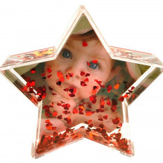 Glob foto stea cu inimioare personalizat, 9.6×4.5×9.3 cm, fotografie inclusa