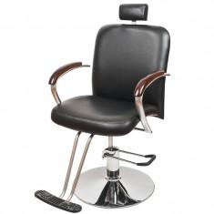 Scaun pentru frizerie London, piele ecologica, negru