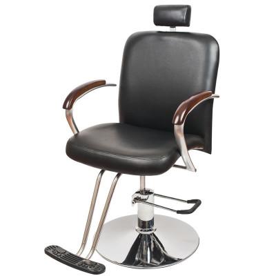 Scaun pentru frizerie London, piele ecologica, negru foto