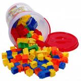 Set cuburi in galeata,actual investing, 144 piese,multicolor