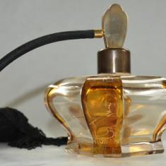 Sticluta veche de parfum realizata in stil Art Deco - Bohemia, aurita