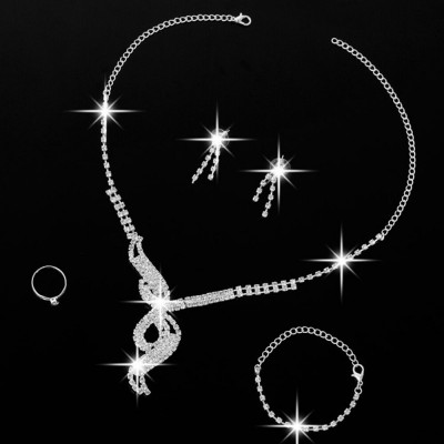 colier set pentru mireasa,bratara inel si cercei cu pietricele,superb foto