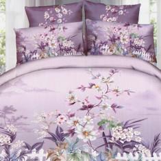 Lenjerie de pat dublu bumbac Print Flower Garden, 220x230 cm