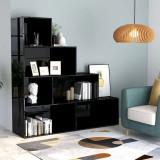 Bibliotecă/Separator cameră negru extralucios 155x24x160cm PAL