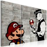 Tablou canvas 3 piese - Banksy: Mario Bros - 120x80 cm, Artgeist