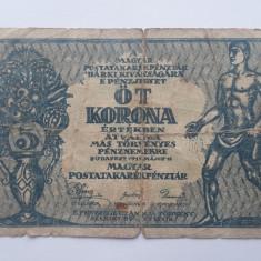5 Korona 1919 Ungaria bancnota  , coroane