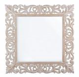 Oglinda decorativa perete cu rama lemn alb patinat Dalila 60 cm x 60 cm Elegant DecoLux