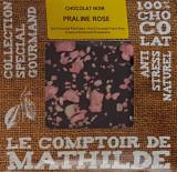 Tableta de ciocolata Comptoir de Mathilde neagra cu pralina roz | Comptoir de Mathilde