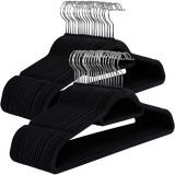 Umerase pentru haine acoperite cu catifea, 50 bucati, Negru