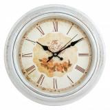 Ceas de perete, model vintage floral, 30×5 cm, alb/auriu