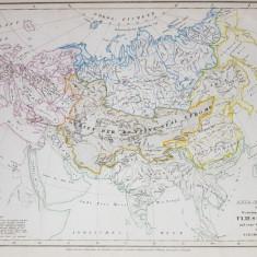 ASIA - EUROPA CU INFLUENTA CURENTILOR IN ZONELE ACESTORA , HARTA CU TERMENII SI EXPLICATIILE IN LIMBA GERMANA , 1850