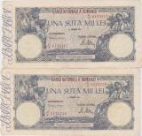 ROMANIA 2 X 100000 LEI DECEMVRIE DECEMBRIE 1946 VF CONSECUTIVE