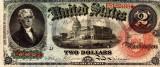 2 dolari 1869 Reproducere Bancnota USD , Dimensiune reala 1:1