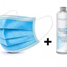 Cumpara ieftin Set 50 buc Masca Protectie Respiratorie 3 straturi + Solutie igienizanta pentru maini 250ml