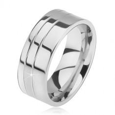 Inel din oțel, lucios, plat cu două caneluri - Marime inel: 67