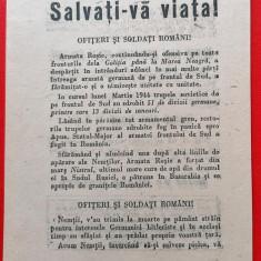 Afis manifest bilet trecere front propaganda 18x14 cm