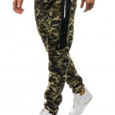 Pantaloni joggers sportivi pentru bărbat camuflaj-verzi Bolf QN271
