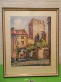 Cumpara ieftin Ruinele bisericii Saint Lars din Visby , superba ACUARELA semnata K. Werner, Istorice, Altul