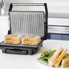 Sandwich maker profesional cu grill, 2 în 1, Hausberg, placă de gătit din granit antiaderent