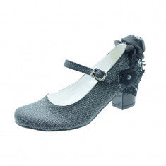 Pantofi cu toc fetite MiniWomen PCSM-M16, Negru