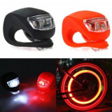 Lumini led siguranta bicicleta, 3 moduri iluminare, silicon, set 2 piese