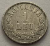 1 Leu 1873, Ag, Romania, XF++, matrita crapata (surplus material), Argint