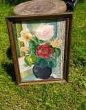 Tablou ulei pe panza, interbelic vaza cu flori, Art Deco