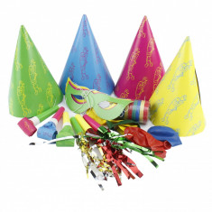 Set accesorii petrecere 21 piese, coifuri, masti, suflatori si baloane