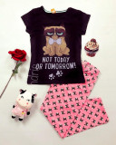 Pijama dama bumbac primavara vara cu tricou negru si pantaloni lungi roz GC