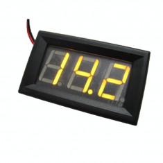 Voltmetru digital cu leduri galbene, 4.5 - 30 V, carcasa neagra, cu 3 fire