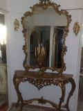 Consola cu oglinda,antica,stil baroc/rococo/ludovic,lemn,1.4/2,45m, 1900 - 1949