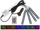 Kit 4 benzi iluminare Ambientala, LED Interior Masina, Multicolor cu Telecomanda