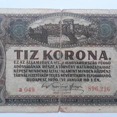 10 Korona 1920 Ungaria bancnota coroane