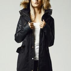 Geaca de iarna lunga cu maneci imitatie piele dama Urban Classics L EU