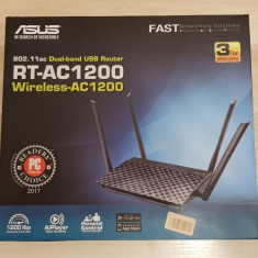 Router Wireless Gigabit, ASUS RT-AC1200, Dual-Band 300 + 867Mbps