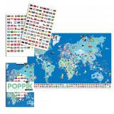 Joc educativ si creativ cu stickere Steagurile Lumii Poppik, Unisex