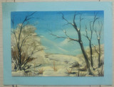 Peisaj de iarna// ulei pe carton