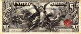 5 dolari 1896 Reproducere Bancnota USD , Dimensiune reala 1:1