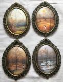 Serie - Tablouri matase - decorative - rama de alamă - 4 Anotimpuri