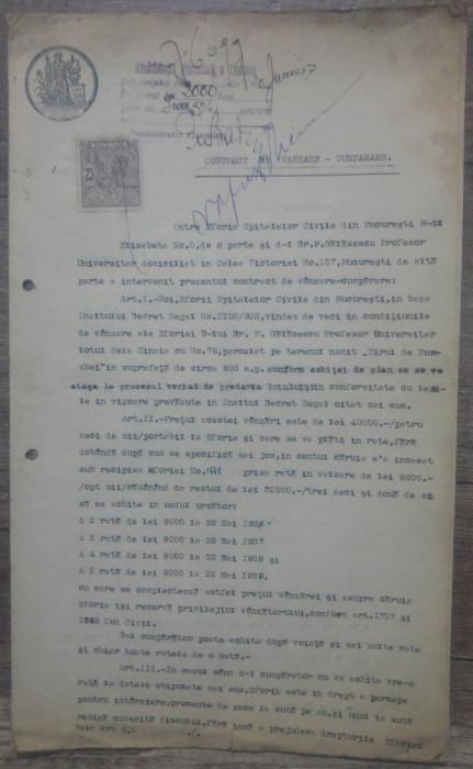 Contract vanzare teren Sinaia intre Petru Galasescu si Eforia Spitalelor Civile